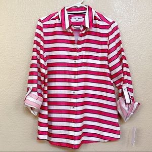 Foxcroft Pink, white and blue stripe button down